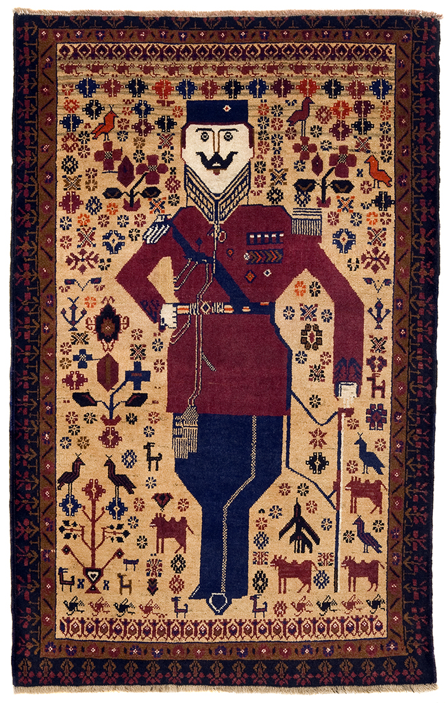 Amanullah Khan, circa 2000 Baluch; Afghanistan Pile woven; wool. NG.2009.082.000. Gift of Robert Fyke, Collection of Nickle Galleries, University of Calgary.